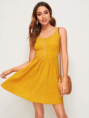 Shein Zip Front Polka-dot Print A-line Dress