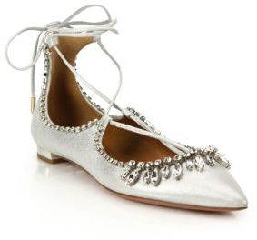 Aquazzura Christy Crystal & Metallic Leather Lace-Up Flats $1,100 thestylecure.com