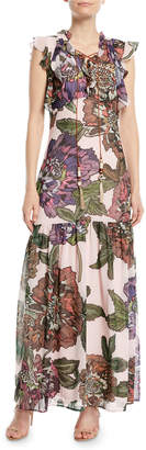 Badgley Mischka Floral Maxi Dress w/ Self-Tie Neck
