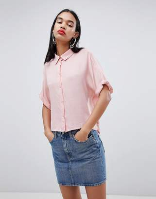 Weekday oversized collar shirt in pale pink