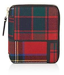 Comme des Garcons Men's Plaid Coin Pocket Zip-Around Wallet-Red