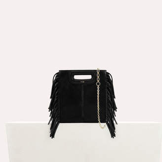 Maje Fringed leather M mini bag with chain