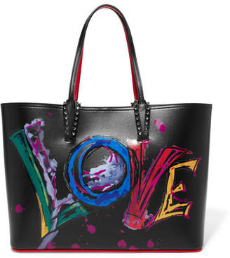 Christian Louboutin Cabata Spiked Printed Leather Tote - Black
