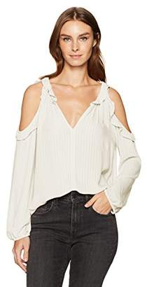 Velvet by Graham & Spencer Women's Crinkle Gauze Cold Shoulder Blouse