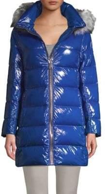 Donna Karan Faux Fur-Trimmed Down Puffer Coat
