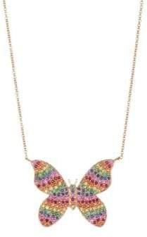 Sydney Evan Large 14K Yellow Gold& Rainbow Diamond Butterfly Pendant Necklace