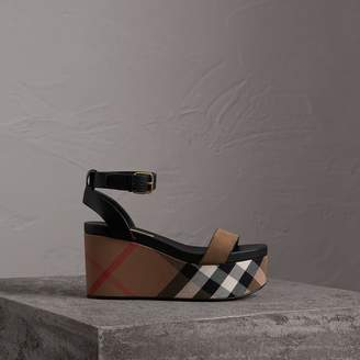 Burberry House Check and Leather Wedge Sandals