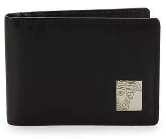 Versace Logo Plaque Saffiano Leather Cardholder
