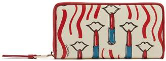 Valentino Lipstick-print leather continental wallet