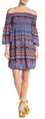 Nicole Miller Off-the-Shoulder Trumpet Sleeve Print Dress