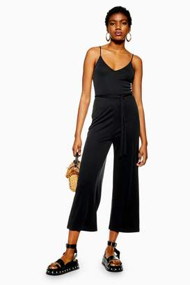 Topshop Womens Strappy Wide Leg Jumpsuit - Washed Black