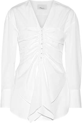 3.1 Phillip Lim Gathered Cotton-poplin Top - White