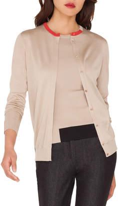 Akris Silk Crepe Lines Intarsia Cardigan Sweater