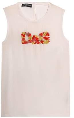 Dolce & Gabbana Floral-Appliquéd Silk Top