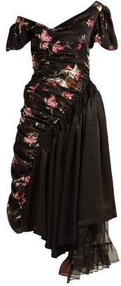 Preen by Thornton Bregazzi Kim Foxglove Print Silk Satin Dress - Womens - Black Multi