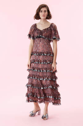 Rebecca Taylor Snake Print Tiered Ruffle Dress