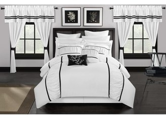 Chic Home 24-Piece Auburn Complete bedroom in a bag Pinch Pleat Ruffled Designer Embellished Queen Bed In a Bag Comforter Set Bright White With sheet set