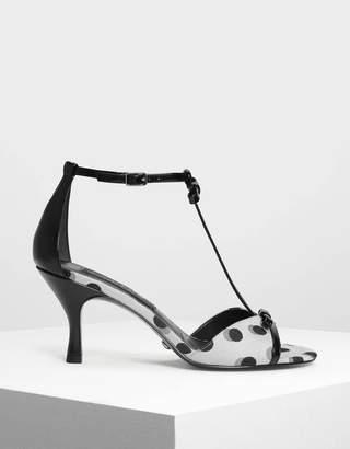 Signature Label Jacquard Ribbon Detail T-Bar Heels