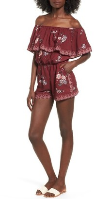 Women's Socialite Ruffle Off The Shoulder Romper $45 thestylecure.com