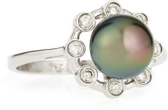 Belpearl 14k Tahitian Black Pearl Ring w/ Tube-Set Diamond Halo, Size 7