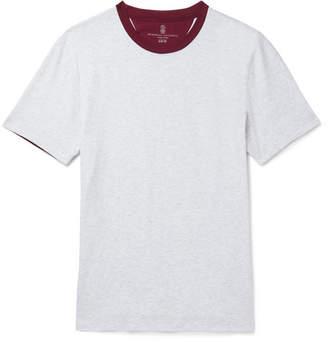 Brunello Cucinelli Slim-Fit Two-Tone Mélange Cotton-Jersey T-Shirt