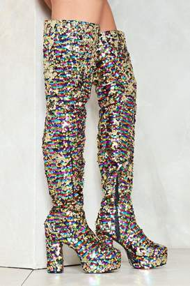 Nasty Gal Fabulous Sequin of Events Thigh-High Boot