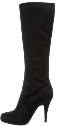 pradaPrada Satin Knee-High Boots