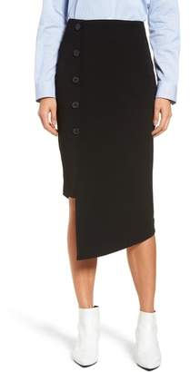 Halogen Button Detail Asymmetrical Skirt