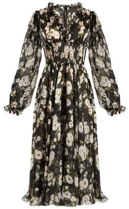 Dolce & Gabbana Floral Print Ruffle Trimmed Chiffon Dress - Womens - Black White