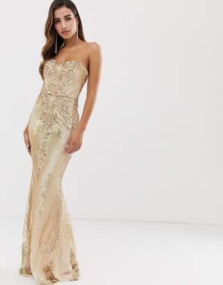 Goddiva bandeau sequin embellished maxi dress in gold