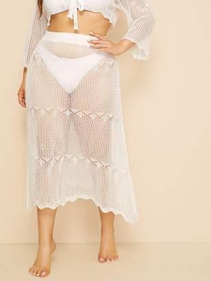 Shein Plus Cutout Crochet Sheer Beach Skirt