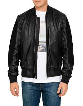 Paul Smith Leather Bomber Jacket W/ Suede Sleeves