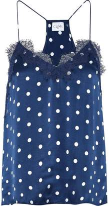 CAMI NYC The Racer Lace-trimmed Floral-print Silk-charmeuse Camisole