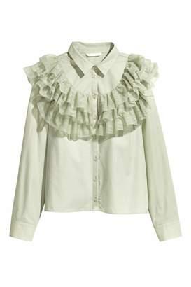 H&M Flounced Cotton Blouse - Light dusky green - Women