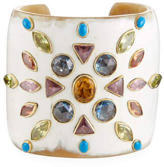 Ashley Pittman Mvutano Light Horn Cuff w/ Mixed Gems
