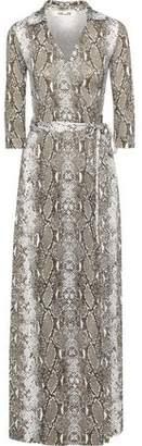 Diane von Furstenberg Abigail Snake-print Silk-jersey Maxi Wrap Dress
