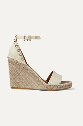 Valentino Garavani The Rockstud 105 Textured-leather Espadrille Wedge Sandals - Ivory