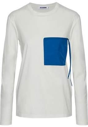 Jil Sander Shell-Appliquéd Two-Tone Cotton-Jersey Top