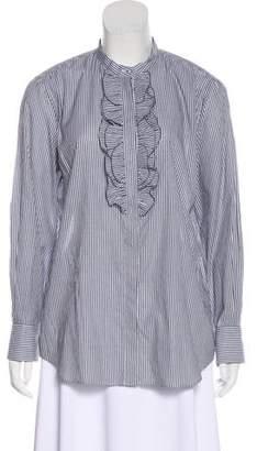 Brunello Cucinelli Monili-Trimmed Striped Top