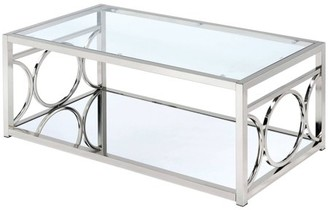 Furniture of America Hirsh Contemporary Glass Coffee Table, Multiple Colors