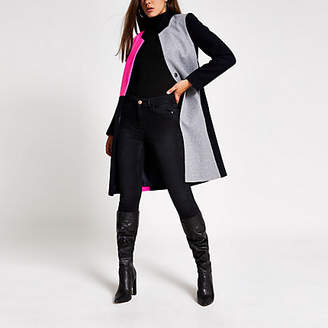 River Island Navy colour blocked longline coat