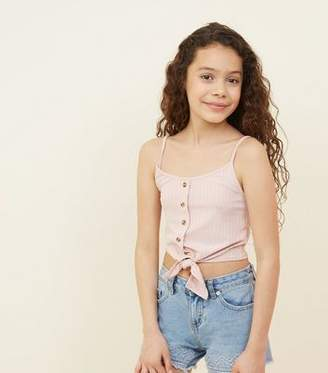 New Look Girls Pale Pink Ribbed Tie Front Cami