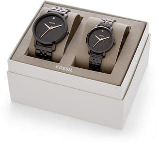 Fossil His and Her Lux Luther Three-Hand Black Stainless Steel Watch Gift Set