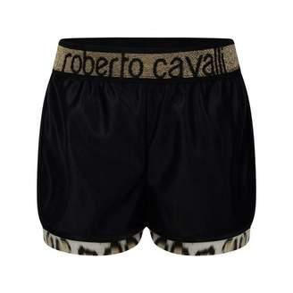 Roberto Cavalli Roberto CavalliGirls Black Shiny Leopard Shorts