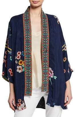 Johnny Was Plus Size Maci Floral Georgette Reversible Kimono w/ Embroidered Trim