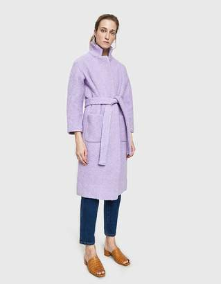 Ganni Fenn Long Wrap Coat in Pastel Lilac