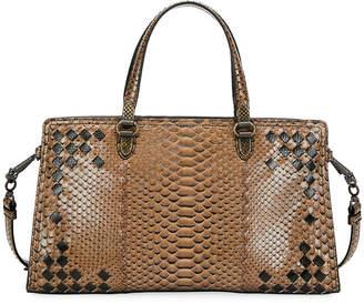 Bottega Veneta Bicolor Python East-West Tote Bag