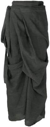 Roggykei asymmetric wrap front skirt