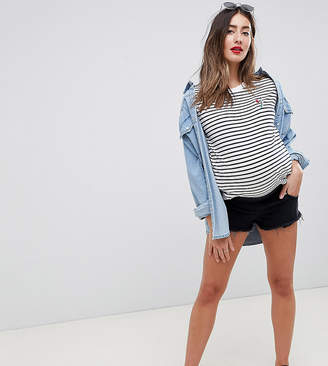 Asos (エイソス) - Asos Maternity ASOS DESIGN Maternity Petite denim Alvey mid rise short with raw hem in washed black
