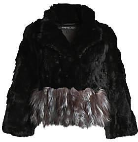 Adrienne Landau Women's Rex Rabbit Fur & Fox Fur-Trim Jacket